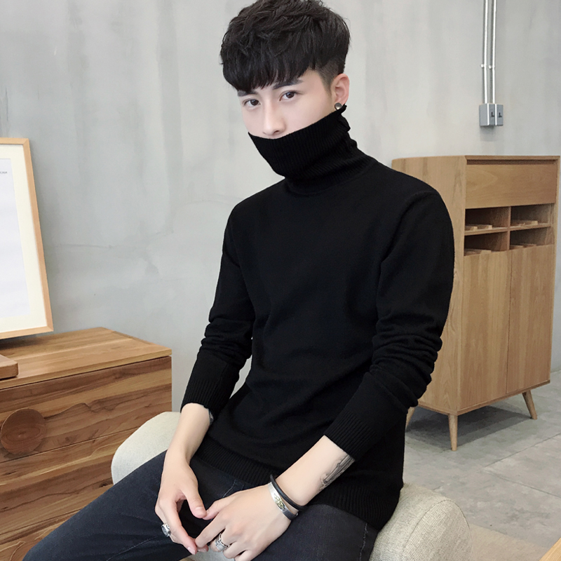 男士修身纯色衫男装长袖高领针织衫毛衣韩版冬季加绒加厚线衫打底