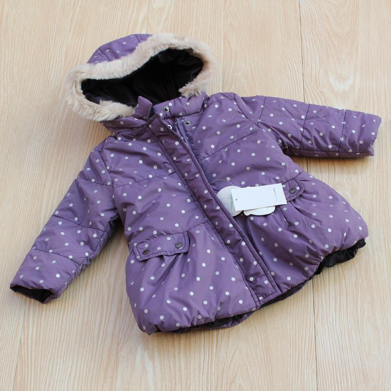 断码女童棉衣连帽双面穿水玉点儿童宝宝棉服特价穿棉袄式两面裙摆