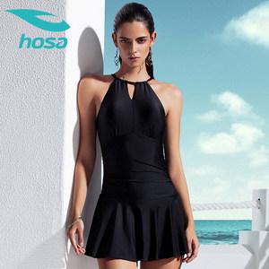 浩沙连体游泳衣女士保守新款小胸聚拢显瘦三角遮肚裙式性感泳装