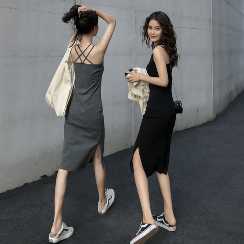 夏季新款打底一步裙女圆领交叉美背侧开叉修身中长款吊带连衣裙子