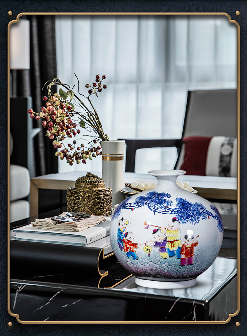 Master hand - made vases Chinese jingdezhen ceramics up with porcelain of pomegranate bottles of study of the sitting room TV ark, furnishing articles