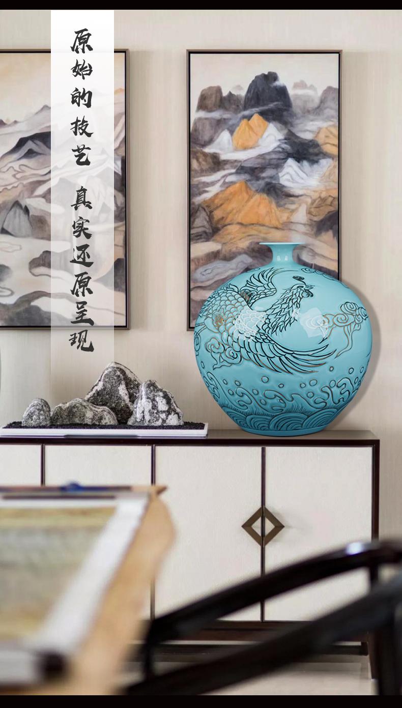 Jingdezhen ceramic masters paint shadow blue bottle pomegranate bottle furnishing articles Chinese rich ancient frame sitting room adornment flower arrangement