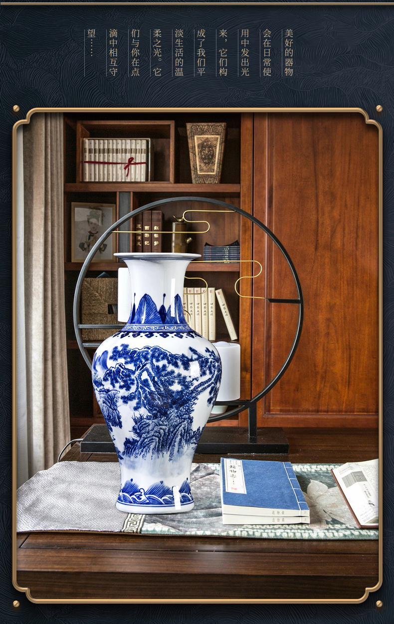 Jingdezhen ceramics hand - made Chinese blue and white porcelain vase rich ancient frame sitting room place flower arrangement craft ornaments