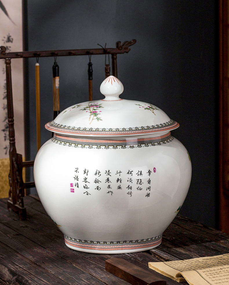Jingdezhen ceramic prolong life caddy fixings copy yong zheng famille rose storage tank seal with cover Chinese style furnishing articles