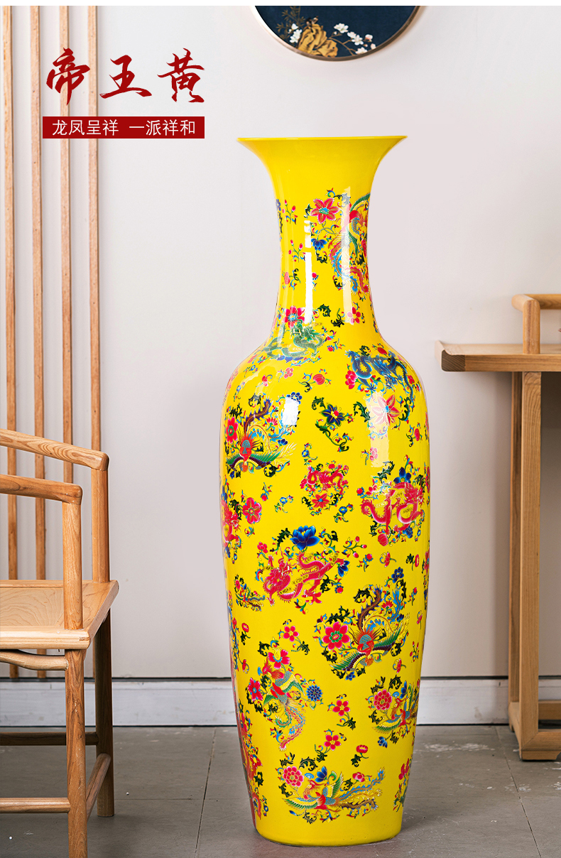 Jingdezhen ceramics furnishing articles Chinese red phoenix Chinese style of large vase study adornment to heavy large living room