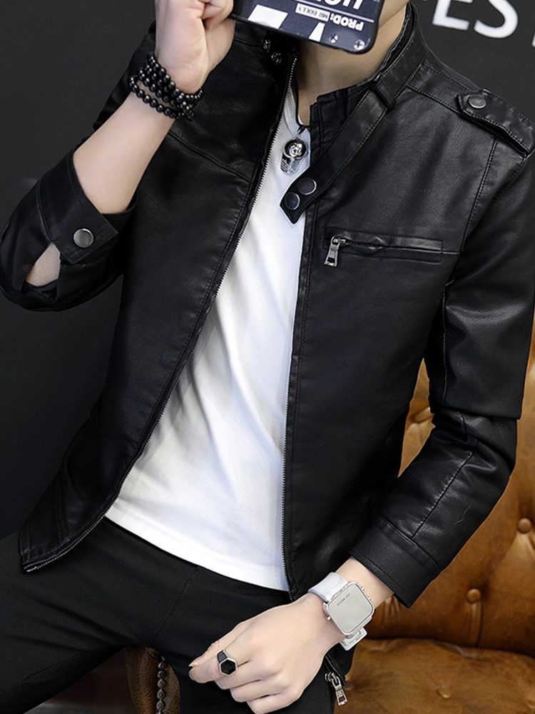 Men's leather 2019 spring new Korean casual jacket men's clothing trend handsome pu leather jacket motorcycle clothing