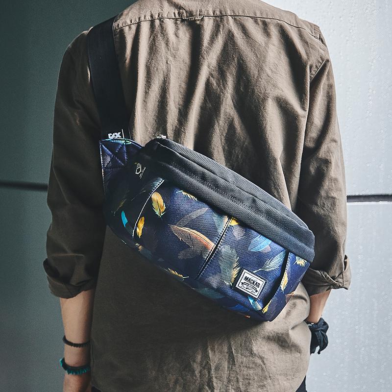 f6a402ef954a Tide brand chest bag men's bag Korean version of the tide bag sports casual  canvas purse sloping bag men's one-shoulder bag small backpack