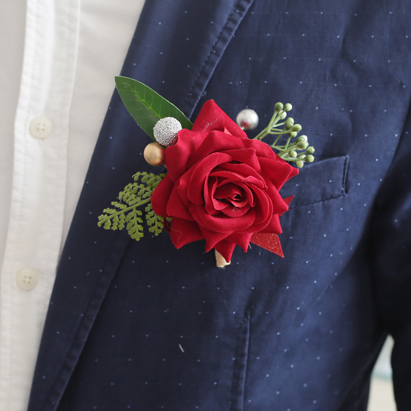 Red simulation bride and groom corsage Wedding wedding parents lapel flower Wrist flower High-end beautiful creative Chinese style