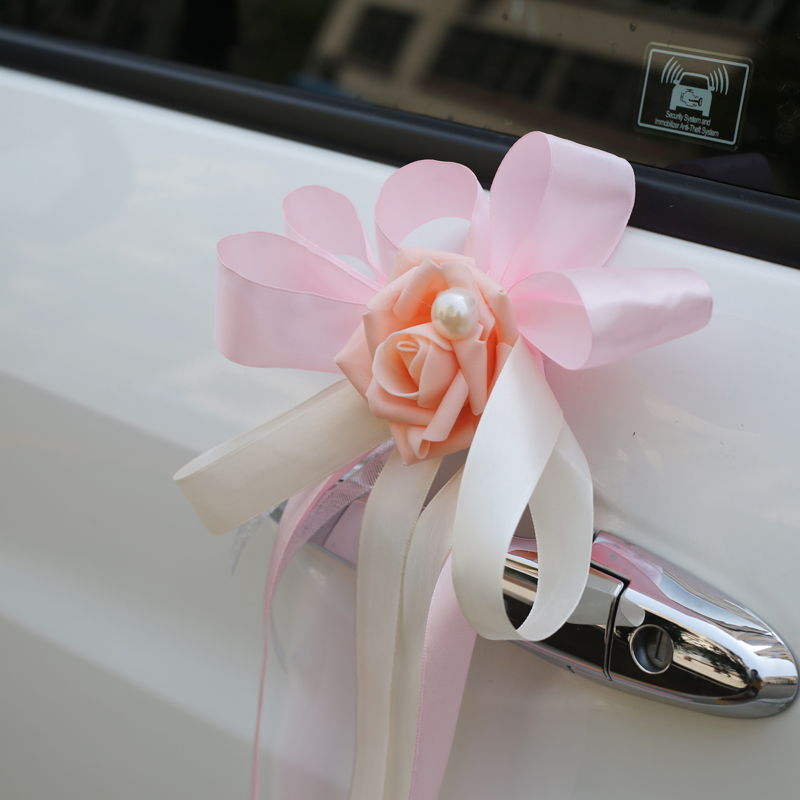 Rose ribbon mirror door flower Main wedding car Sub-car fleet decoration flower Simulation wedding supplies arrangement pull flower