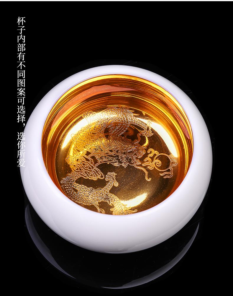 Ocean 's gold cup masters cup single white porcelain cup pure manual high - grade men' s single CPU getting kunfu tea sample tea cup