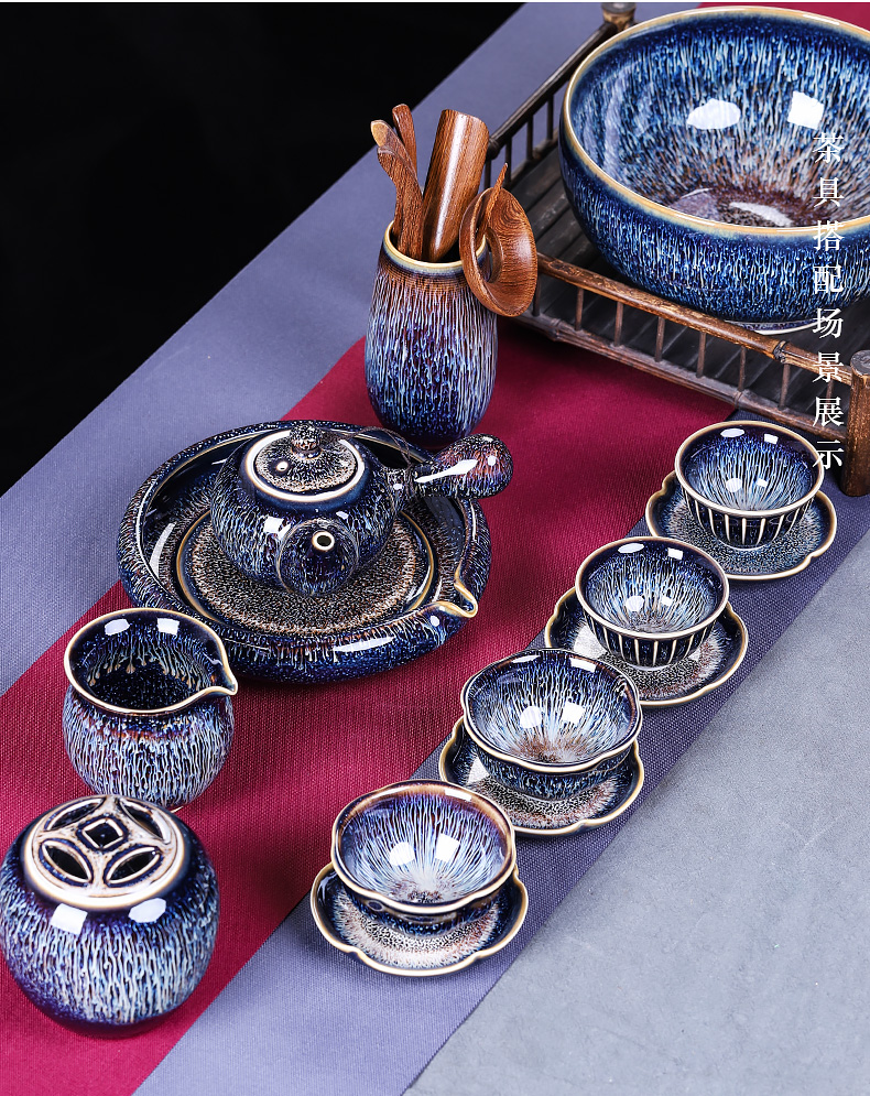 Single cup tea seed master kung fu tea cups obsidian variable temmoku large Chinese style restoring ancient ways is a Single ceramic tea set