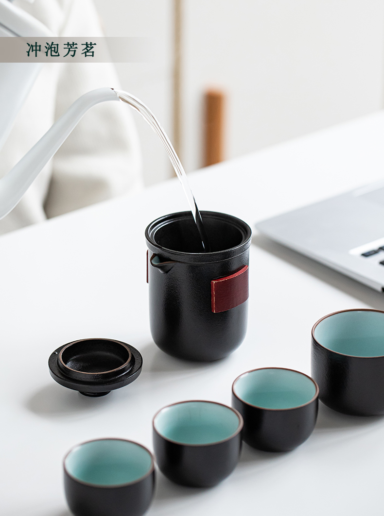 A pot of tea boy four cups of portable is suing travel kung fu tea set suit Japanese ceramic crack cup to receive package