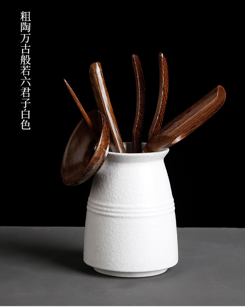Kung fu tea accessories coarse pottery six gentleman ChaZhen solid wood ChaGa receive tube teaspoons brush pot of tea set