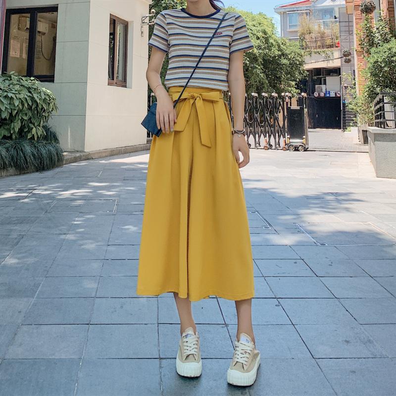 七分阔腿裤女夏季高腰垂感冰丝宽松薄款裙裤2019新款时尚雪纺裤子