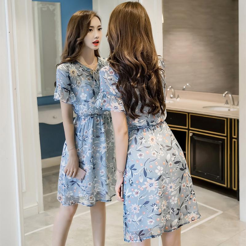 小清新连衣裙女夏天流行2019新款显瘦碎花雪纺裙矮小个子收腰夏季