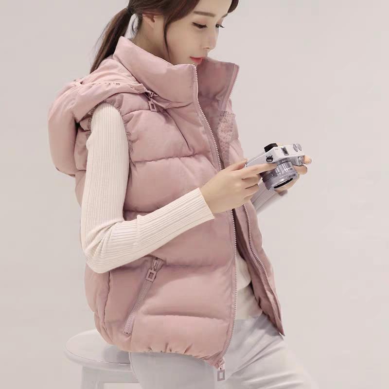 【可拆卸帽子】2020秋冬女士棉马甲短款韩版显瘦羽绒棉背心外套潮