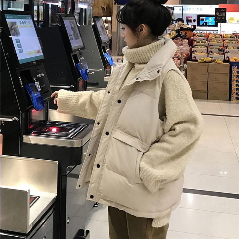 羽绒棉马甲女学生韩版宽松冬季新款无袖马夹背心翻领短款面包外套