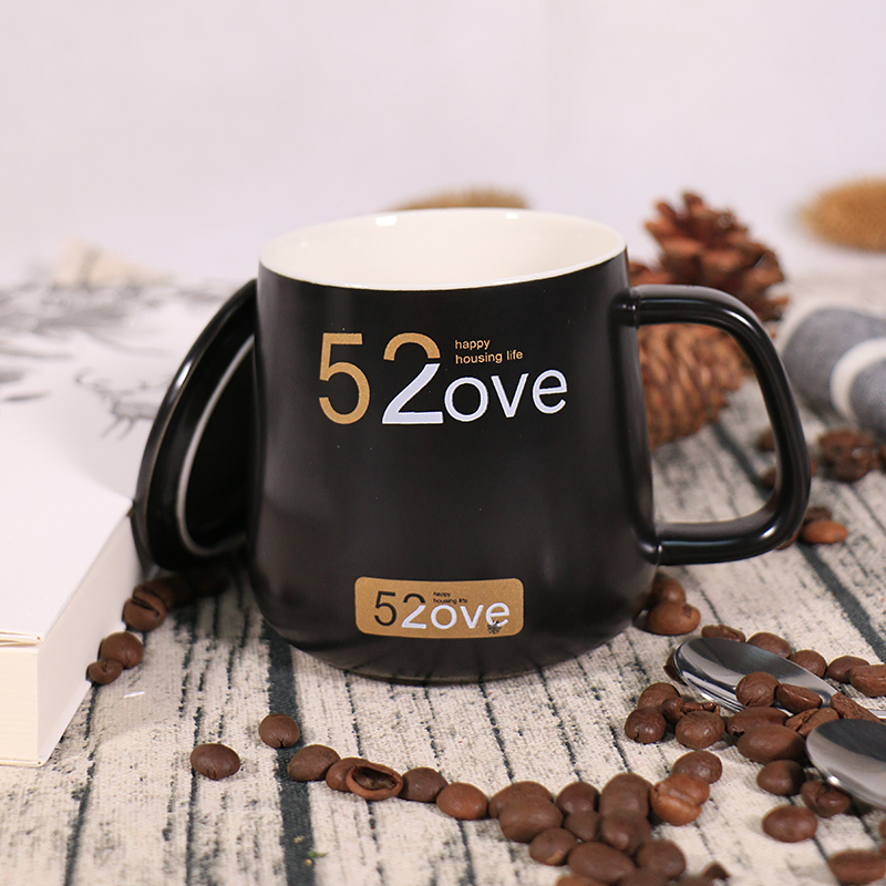 水杯创意陶瓷杯520咖啡杯带盖勺情人节黑白大马克杯定制情侣礼物