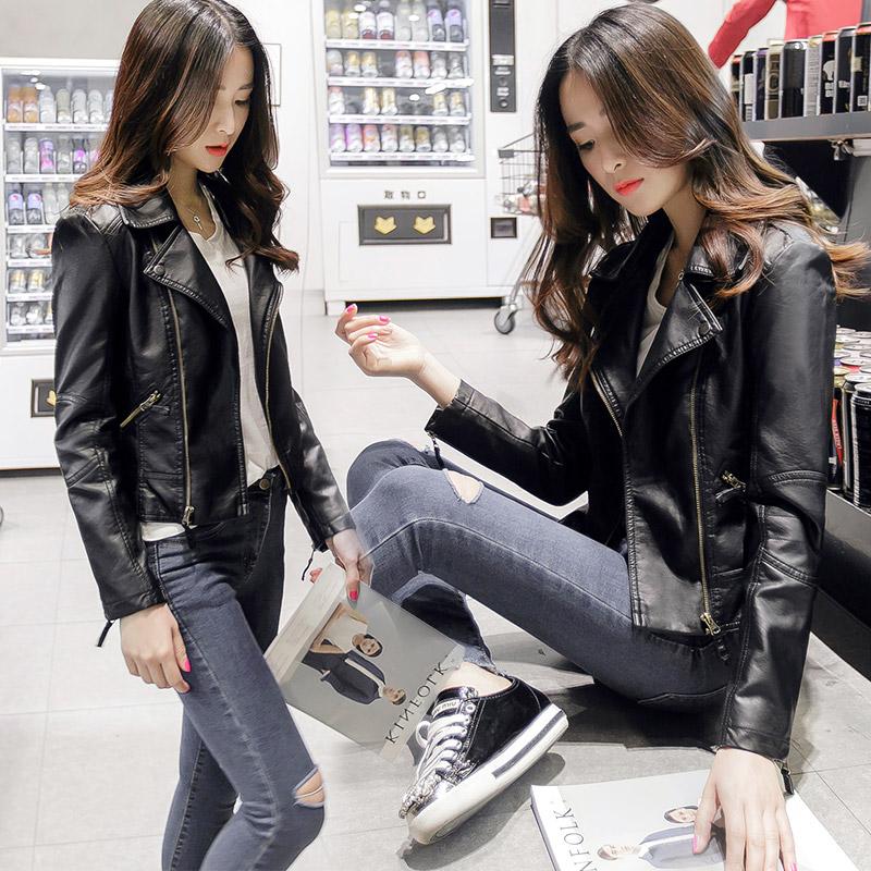 2018春季新款韩版修身显瘦机车皮衣女短款春秋PU皮夹克小皮衣外套
