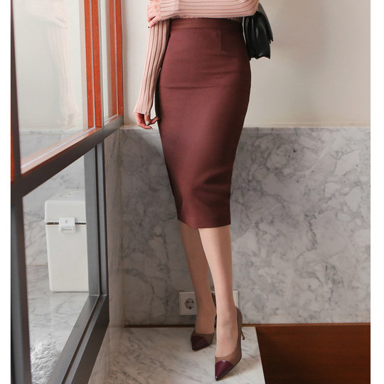 Spring and summer new solid color skirt dress bag hip professional long skirt high waist work skirt OL style pencil skirt
