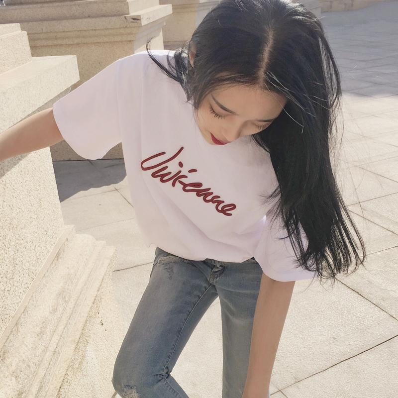 白色t恤女短袖宽松韩版半袖2020夏季休闲百搭ins上衣学生字母t恤