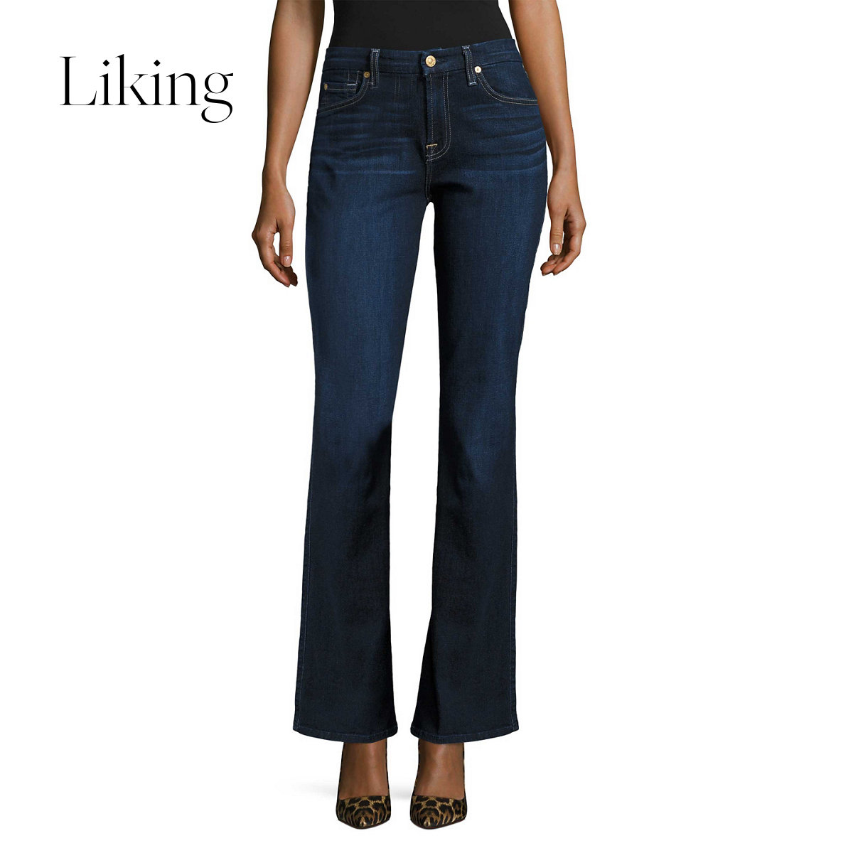 7 for all mankind 赛文 Freomede Women's Blue High Waist Flare Cotton Jeans