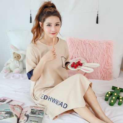 457a38344a05 Nightdress female summer cotton Korean version of fresh students  short-sleeved long section cute outside wearing pregnant women sexy pajamas  female summer