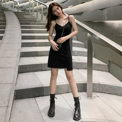 a word little black dress waist was thin female models Xiaji Qiu short paragraph sexy little black V-neck harness dress
