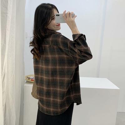 格子衬衫女2020春季新款宽松港味大版百搭文艺复古中长款衬衣外套