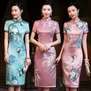 Chinese Dress Qipao for women cheongsam short everyday lady retro improved elegant lady dignified temperament dress