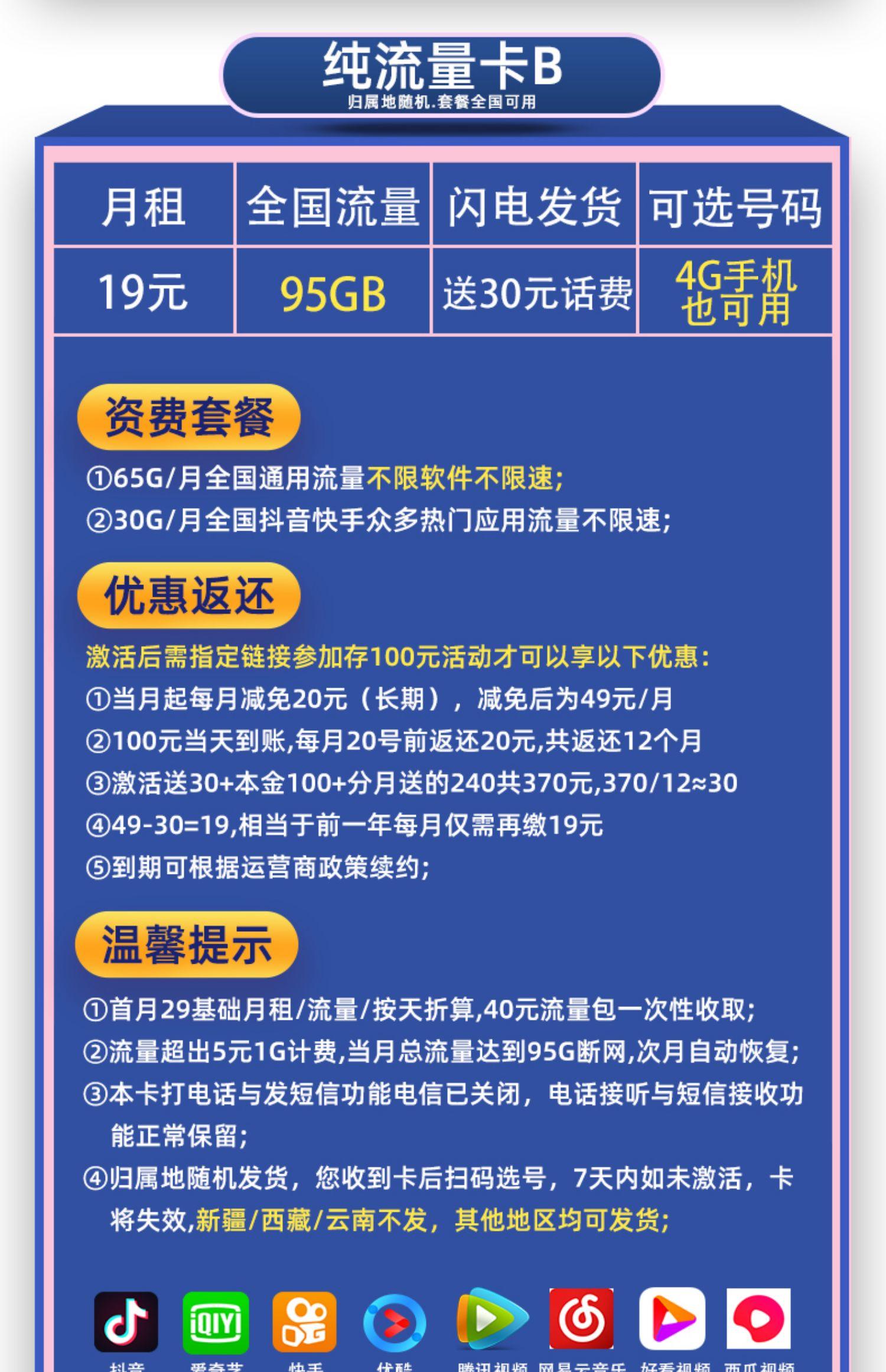 【移动流量卡】纯流量上网手机电话大王5g号10