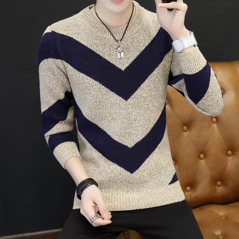 男士圆领毛衣冬季2018新款韩版针织衫潮流加厚毛线衫冬装线衣男装