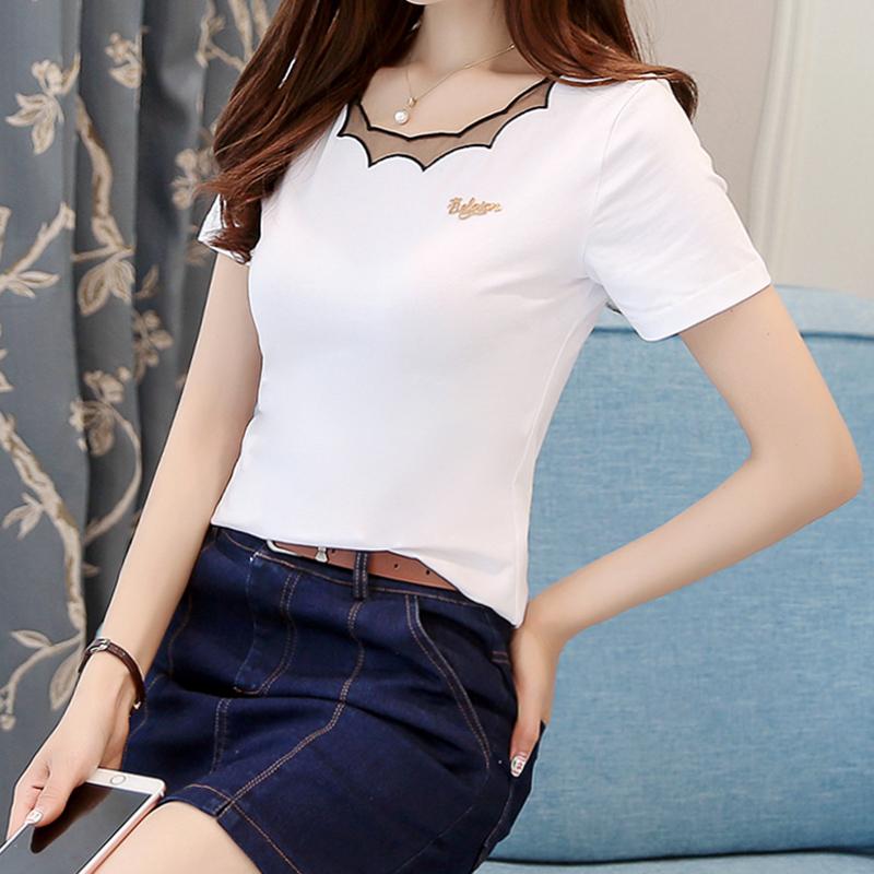 夏装纯棉T恤女上衣2020夏季新款韩版修身网纱刺绣领半袖短袖白色