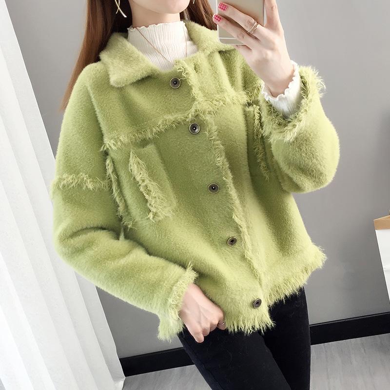 Áo khoác nhung nữ chồn nhung ngắn màu xanh lá cây 2019 mùa thu mới đầu thu ngoài áo len đan len nữ - Áo len cổ chữ V