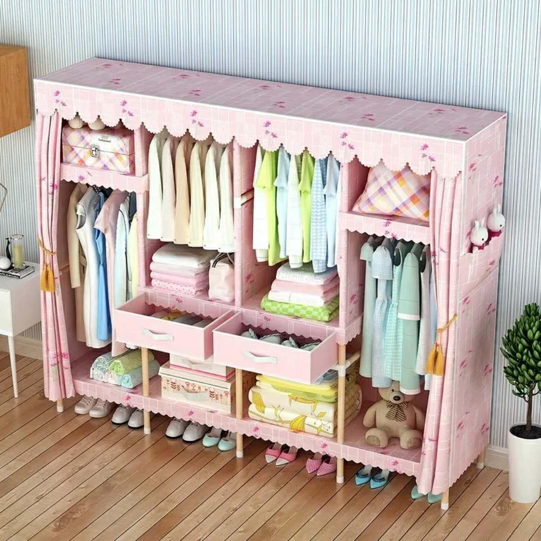 加厚涤棉布衣柜木棍加粗加固组装简易布艺经济型实木双人衣橱简约