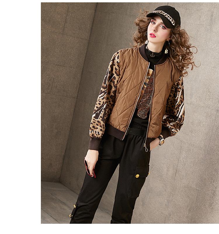 Winter cotton dress women 2020 new leopard print wool woven sleeves stitched collared baseball shirt sandwich cotton jacket women's short 53 Online shopping Bangladesh