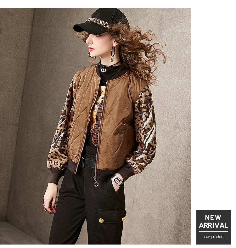 Winter cotton dress women 2020 new leopard print wool woven sleeves stitched collared baseball shirt sandwich cotton jacket women's short 57 Online shopping Bangladesh