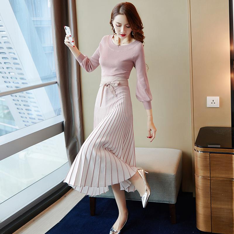 裙子早秋装女士2018新款韩版中长款长袖冬打底针织毛衣连衣裙气质