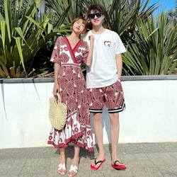 Lovers wear summer 20111 summer new hot beach wear honeymoon ethnic style female V-neck long dress male