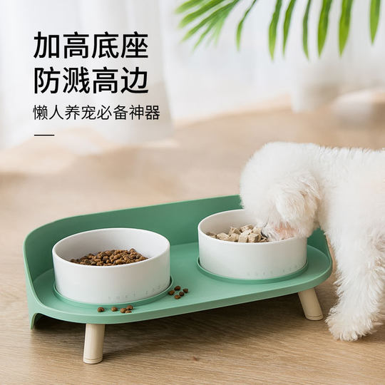 Cat Bowl Dog Bowl Double Bowl Ceramic Anti-Tip Cat Food Bowl Protect Cervical Spine Cat Food Bowl Dog Water Bowl Pet Supplies