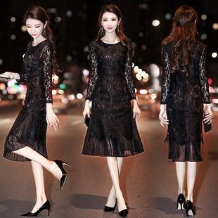 【高端定制】镂空假两件蕾丝连衣裙