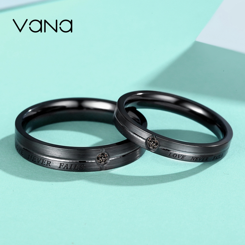 0ca9a9f1b8 Vana sterling silver couple ring a pair of men and women simple net red  niche design ring set Swarovski zirconium