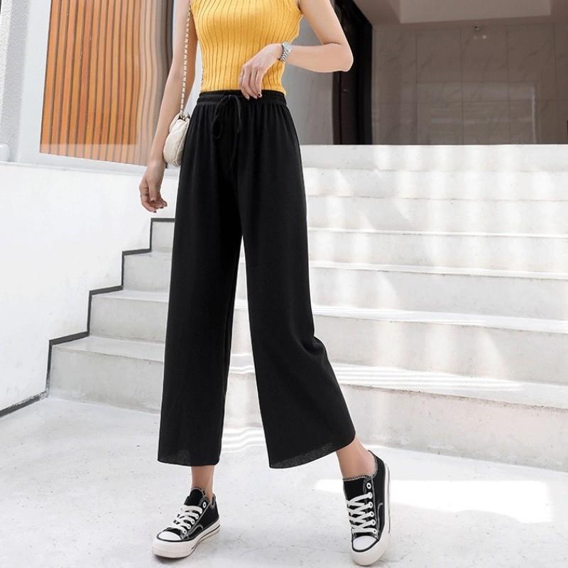 每人限购1件!长裤2020年冰丝针织阔腿裤春秋薄款女士外穿打底裤s