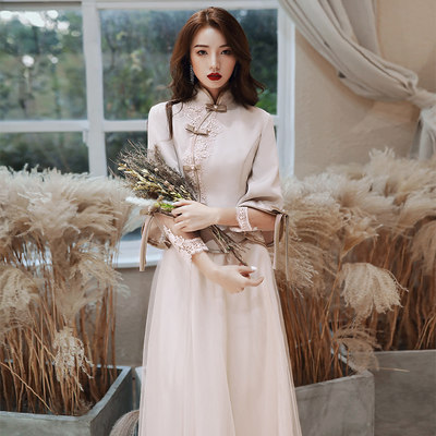 Chinese bridesmaid clothing 2020 new spring and summer Xiuxi He He Jianshi group sister dress skirt female fairy Chinese style thin