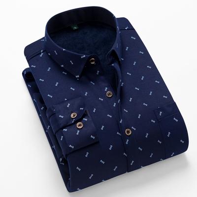 秋季加绒衬衫男士长袖商务休闲印花加厚保暖衬衣爸爸装秋衣打底衫