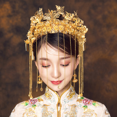 Chinese costume hair accessories Bride Headdress Chinese Wedding Dress Phoenix Crown Hair Decoration Set Retro Wedding Dragon and Phoenix Wear Accessories