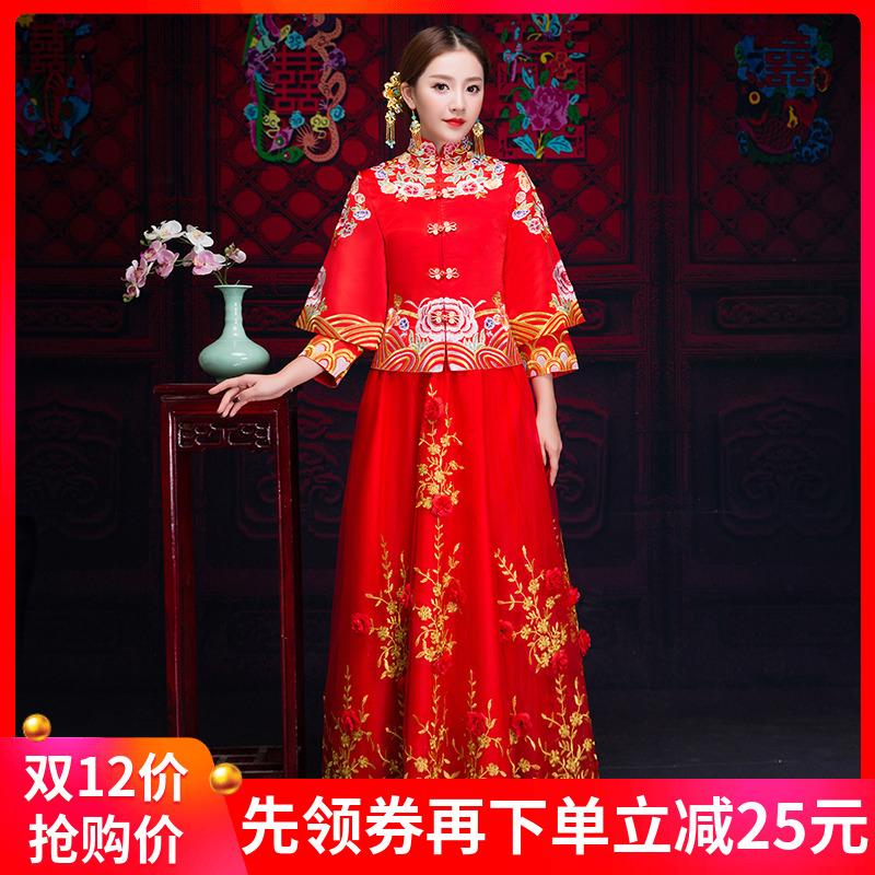 红色新娘嫁衣2018新款中式婚纱礼服宫廷旗袍敬酒服复古婚服女冬季