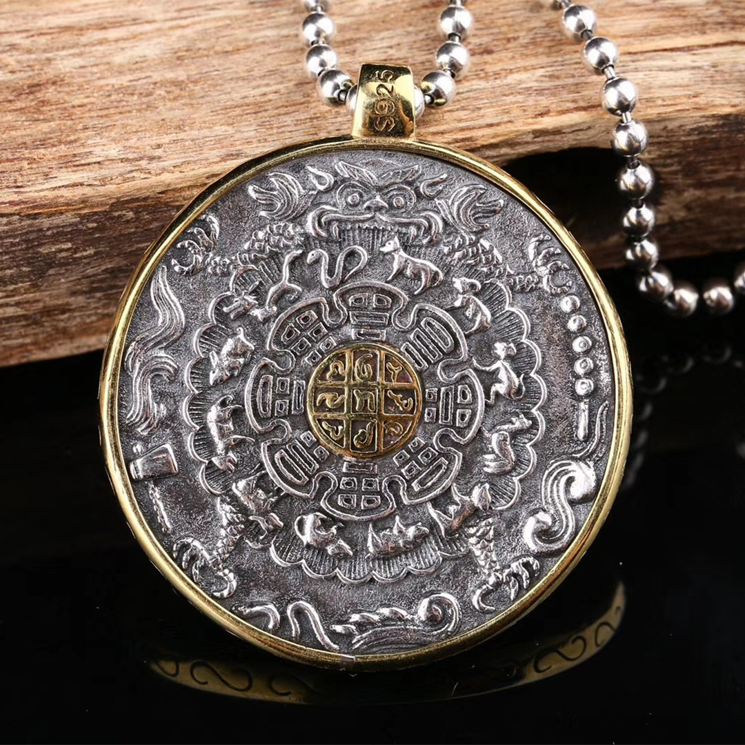 Pendant Necklaces Buddhist necklace Chinese horoscope necklace Pendant Signs of Zodiac In Sandalwood Zodiac Signs Buddhist pendant