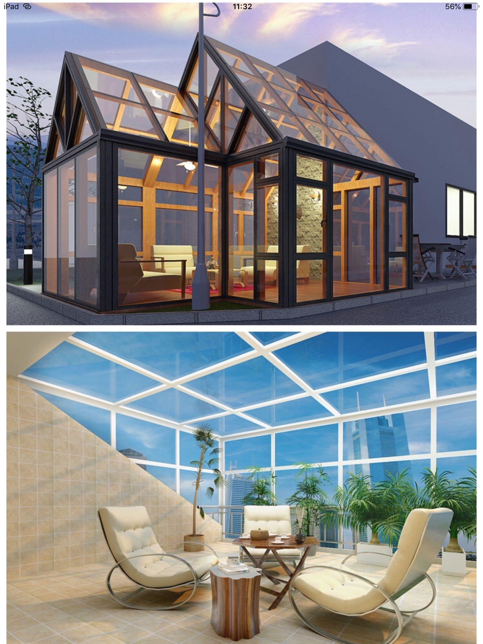 西安阳光房 花园玻璃房彩钢隔热断桥铝合金钢结构阳光棚庭院 包邮