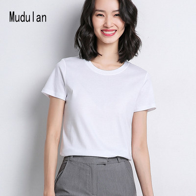 Mu Duolan cotton INS tide short-sleeved women's Korean version of the slim bottom round neck T-shirt 2020 spring summer solid color shirt